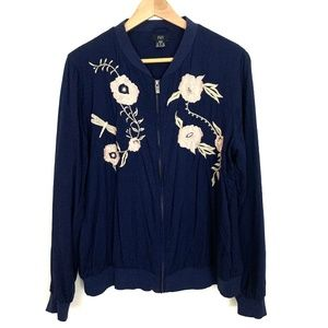 F&F Blue Floral Embroidered Jacket Women Sz 12